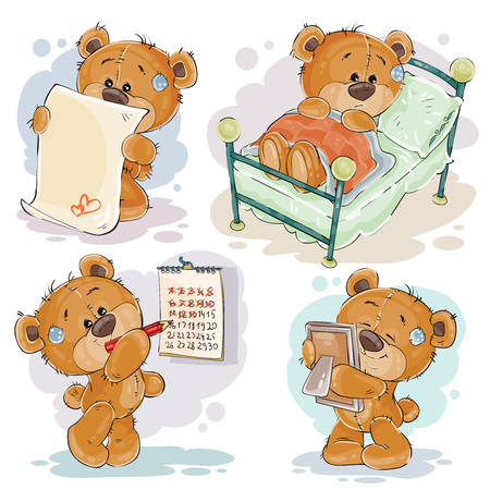 Set of clip art illustrations of bored teddy bears. I miss you Stock Photo