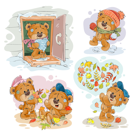 Set of clip art illustrations of funny teddy bears. Image for cards