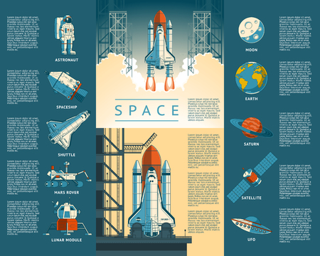 Large collection of icons of space. illustration of a flat style rocket takes off Stock Photo