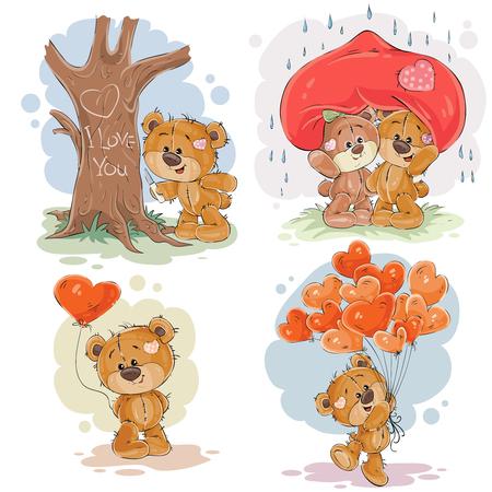 enamoured 곰의 클립 아트 삽화의 집합입니다. 발렌타인 데이 인쇄