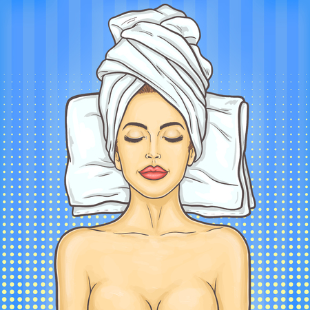 rejuvenation: pop art illustration portrait of a young beautiful woman in spa environment