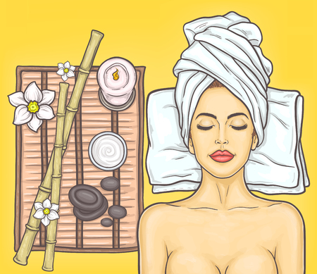pop art illustration portrait of a young beautiful woman in the spa salon Stock Photo