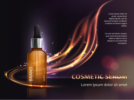 Illustration 3D pour la promotion du produit cosmétique anti-vieillissement. Cosmétiques pour soins de la peau