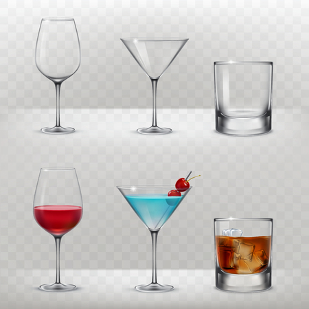 scotch: Set of illustrations of glasses for alcohol in a realistic style