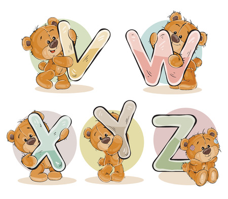 Set of letters of the English, the Latin alphabet are in the clutches of funny teddy bear. Part 5 - the letters V, W, X, Y, Z Stock Photo