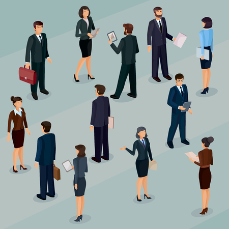 Set of isometric men and women in business suits, isolated business people figures