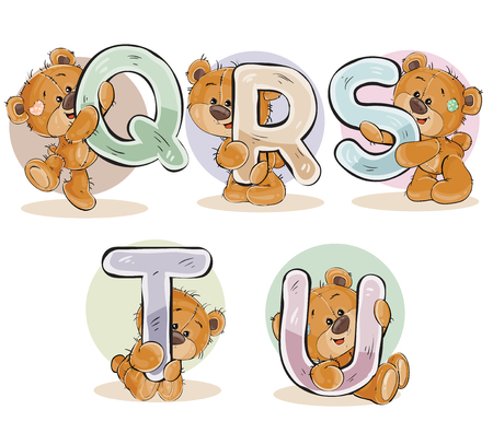 Set of letters of the English, the Latin alphabet are in the clutches of funny teddy bear. Part 4 - the letters Q, R, S, T, U