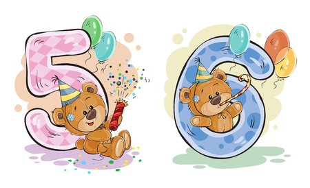 set of numbers being in the legs in a fun teddy bears, template greeting card for a birthday child. Part two - the numbers 5, 6 Stock Photo