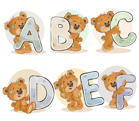 Set of letters of the English, the Latin alphabet are in the clutches of funny teddy bear. Part 1 - the letters A, B, C, D, E, F