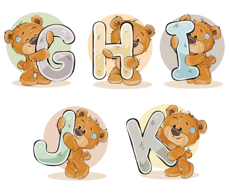 Set of letters of the English, the Latin alphabet are in the clutches of funny teddy bear. Part 2 - the letters G, H, I, J, K Reklamní fotografie
