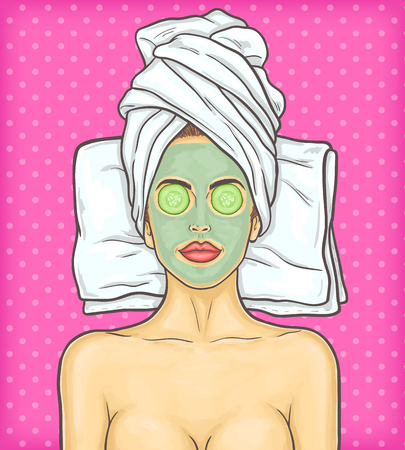 rejuvenation: pop art illustration portrait of a young beautiful woman with cosmetic mask on her face