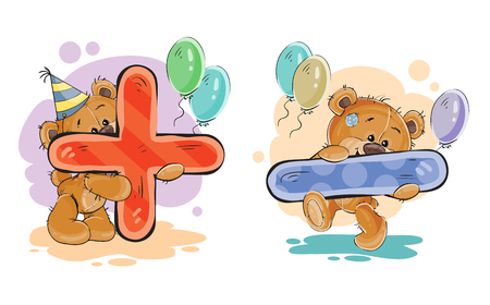 set of mathematical symbols being in the legs in a fun teddy bears. The symbols plus and minus Stock Photo