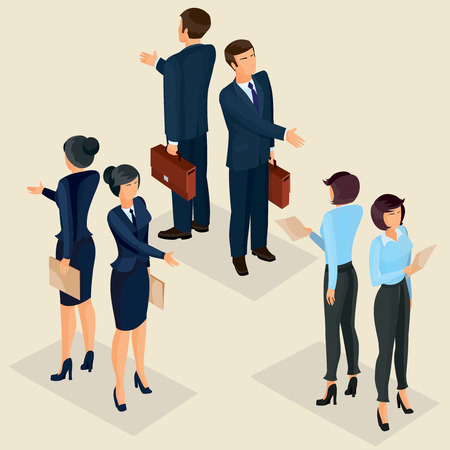 Set of isometric men and women in business suits front and rear, isolated business people figures