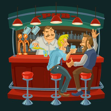 cartoon illustration of male friends spend their free time in a bar