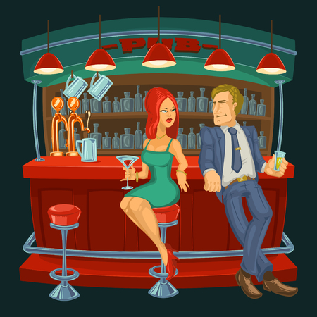 cartoon illustration of a man meets a woman in a bar Stock Photo