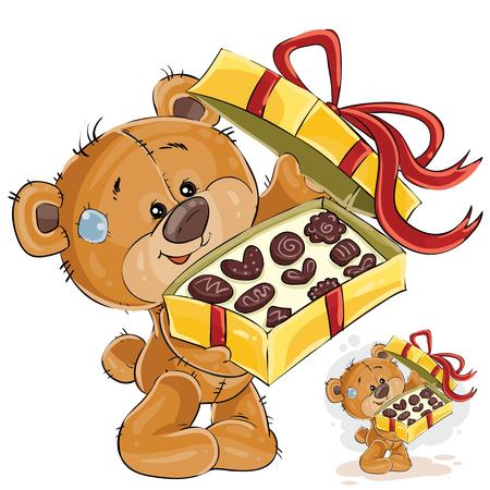 La ilustración del vector de un oso de peluche marrón trata con los caramelos de chocolate. Imprimir, plantilla, elemento de diseño