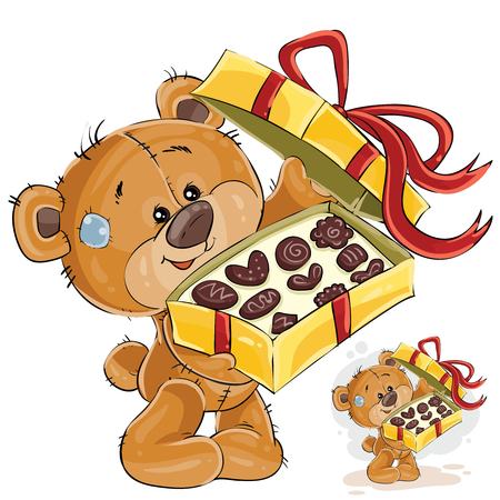 Vector illustration of a brown teddy bear treats with chocolate candies. Print, template, design element Ilustração