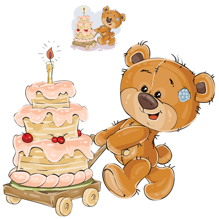 Vector illustration of a brown teddy bear rolling a cart with a birthday cake. Print, template, design element Vettoriali