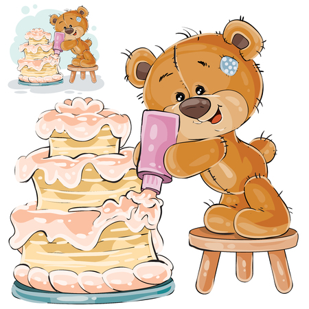 Vector illustration of a brown teddy bear makes a holiday cake. Print, template, design element Ilustração