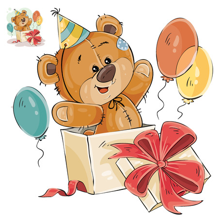 Vector illustration of a brown teddy bear peeking out of a gift box. Print, template, design element Illustration