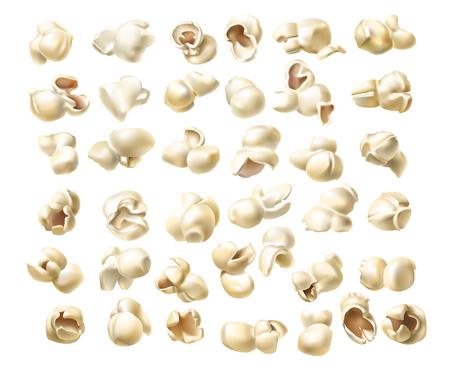 Raccolta delle icone di vettore di macro popcorn lanuginoso in uno stile realistico isolato su priorità bassa bianca