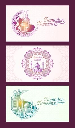 Verzameling van vector gekleurde banners voor Ramadan Kareem met schets van Ramadan lantaarn, torens van moskee, vintage maan en Arabisch patroon