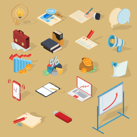 signing: Set of vector isometric illustrations, business icons. Design elements for the website, business articles, stickers