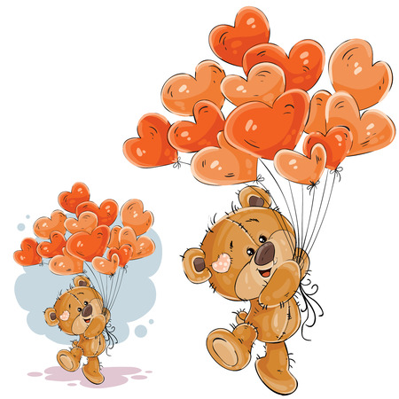 Vector illustration of a brown teddy bear holding in its paw a red balloons in the shape of a heart. Print, template, design element Stock Photo