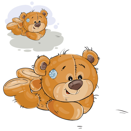 Vector illustration of a brown teddy bear lies on the floor on his stomach. Print, template, design element