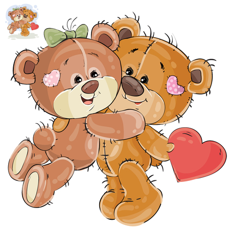 cute bear: Vector illustration of a loving brown teddy bear hides behind his back a valentine, and his girlfriend hugs him by the neck. Print, template, design element