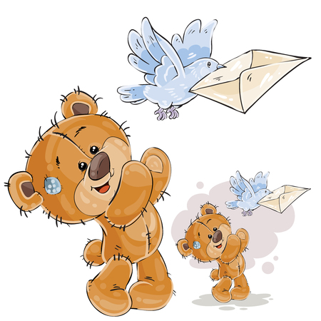 Vector illustration of a brown teddy bear sends a letter in a mail envelope using a mail pigeon. Print, template, design element