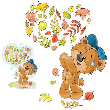 vómito: Vector el ejemplo del otoño de un oso de peluche marrón vomitó las hojas caidas y hizo un corazón fuera de ellas. Imprimir, plantilla, elemento de diseño Vectores