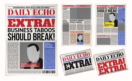 Illustrazione vettoriale di un modello di giornale quotidiano, tabloid, layout reportage Archivio Fotografico - 78693588