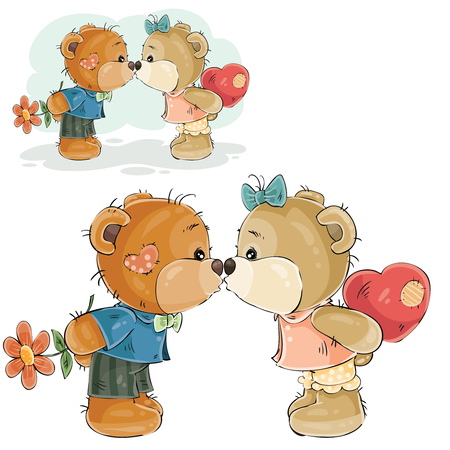 Vector illustration of a pair of brown teddy bears boy and girl kissing, declaration of love. Print, template, design element Illustration