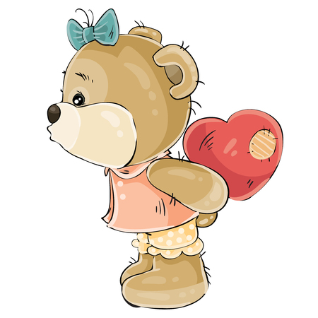 cute bear: Vector illustration of a loving brown teddy bear girl hiding behind her plush red heart and about to kiss someone. Print, template, design element