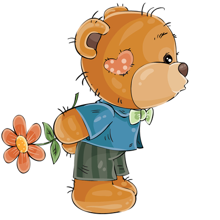 Vector illustration of a loving brown teddy bear boy hides behind a flower and is going to kiss someone. Print, template, design element Illustration