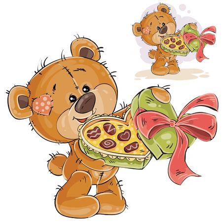 벡터 일러스트 레이 션의 갈색 곰 그들의 발에 초콜릿의 열기 상자를 들고 그들을 치료. 인쇄, 템플릿, 디자인 요소