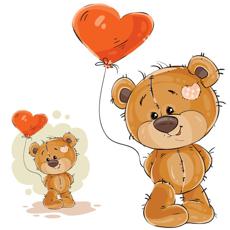 Vector illustration of a brown teddy bear holding in its paw a red balloon in the shape of a heart. Print, template, design element
