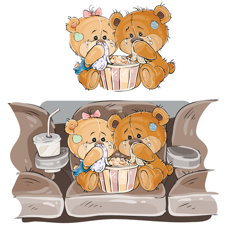Vector illustration of a couple of brown teddy bears sitting in the cinema hall and watching a movie, melodrama. Print, template, design element