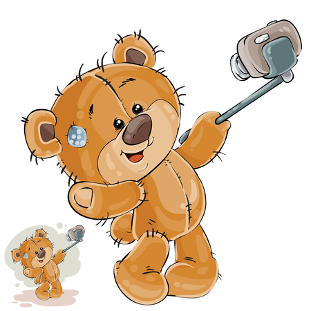 cute bear: Vector illustration of a brown teddy bear makes its selfie photo on a smartphone Illustration
