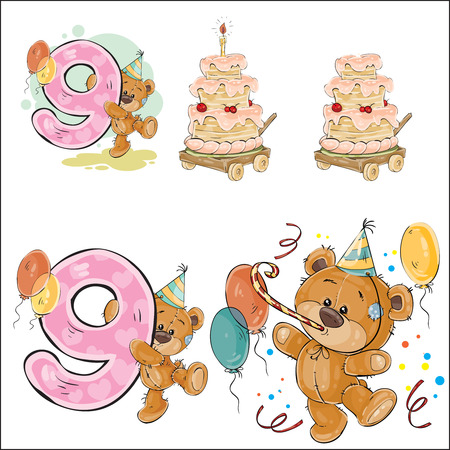 cute bear: Set of vector illustrations with brown teddy bear, birthday cake and number 9.