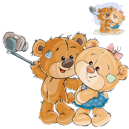 Vector illustration of a couple of enamored brown teddy bears making his selfie photo on a smartphone