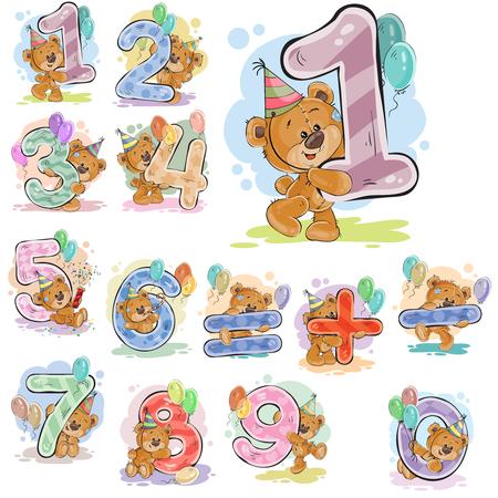 Een reeks vectorillustraties met een bruine teddybeer en cijfers en wiskundige symbolen.