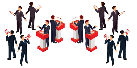 Vector illustration isometric people businessman doing a report Illustration