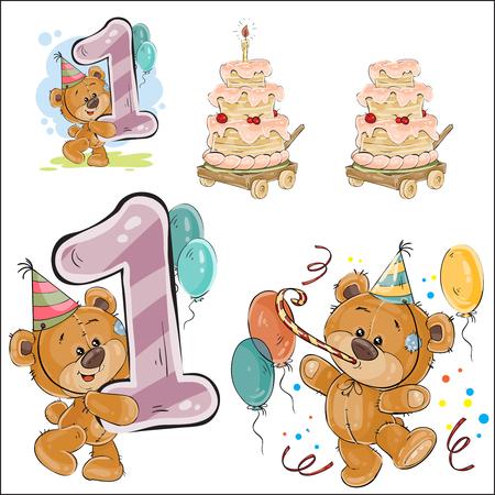 갈색 곰, 생일 케이크 및 번호 1, 인쇄, 템플릿, 인사말 카드, 초대장, 엽서 디자인 요소에 대 한 벡터 일러스트 레이 션의 집합