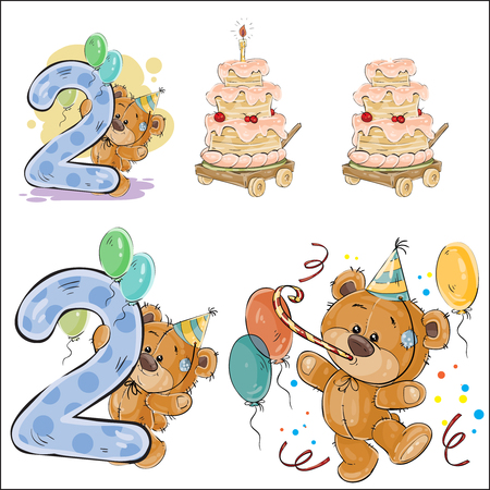 Set of vector illustrations with brown teddy bear, birthday cake and number 2, prints, templates, design elements for greeting cards, invitation cards, postcards Stock Photo
