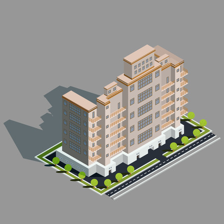 Vector isometric 3D illustration icon of building skyscraper, tower, office, residential building