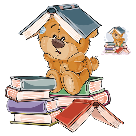 Vector illustration of a brown teddy bear tired of studying and put an open book on his head. Print, template, design element