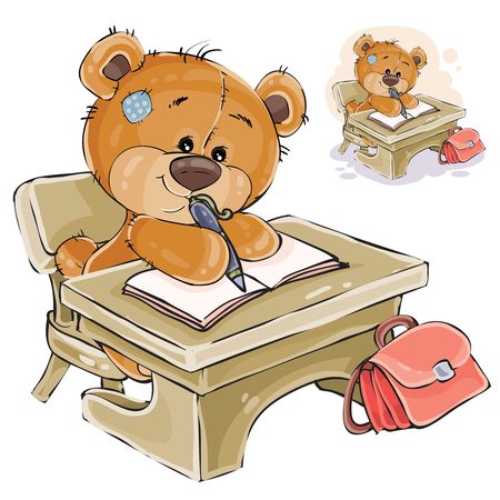 Vector illustration of a brown teddy bear sitting at the student s desk and writing something in a notebook. Print, template, design element Illustration