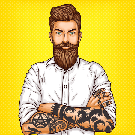 Vector pop art illustration of a brutal bearded man, macho with tatoo folded his arms over his chest Standard-Bild